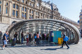 Metro entrance at Gare St. Lazare in Paris, France Royalty Free Stock Photo