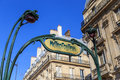 Metro entrance in Paris Royalty Free Stock Photo