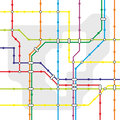 Metro fictive network map for urban public transport Royalty Free Stock Image