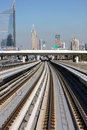 Metro rail modern in dubai uae Stock Images