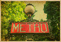 Metro sign in paris france vintage photo traditional Stock Photo