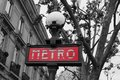 Metro sign paris red isolated coloured in france Stock Images