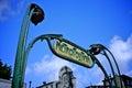 Metro sign paris slight tilted in france Stock Photo