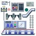 Metro station vector illustration.