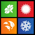 Metro style four seasons icons Stock Photos