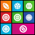 Metro style sports balls icons Royalty Free Stock Photography
