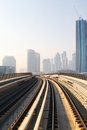Metro train in dubai united arab emirates Stock Photo