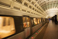 Metro train an image of the washington dc entering the station Royalty Free Stock Images
