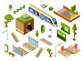 stock image of  Metro train station vector isometric illustration