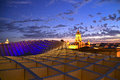 Metropol parasol of seville spain shot at sunset lanscape beautiful colors of purple gold and pink Stock Image