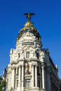 Metropolis building madrid facade located at spain Stock Photos