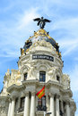 Metropolis building madrid spain spanish edificio metrópolis is one of the most famous beaux arts style landmark of city of it Royalty Free Stock Photography