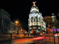 Metropolis Building by Night, Madrid Stock Photos