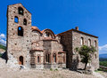 Metropolis byzantine church mystras the campanary tower with bells and the facade of cathedral in peloponnese greece Stock Photo