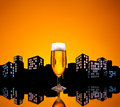 Metropolis lager beer in color skyline setting Royalty Free Stock Photos