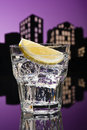 Metropolis tom collins cocktail in city skyline setting Stock Images