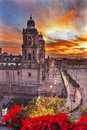 Metropolitan cathedral christmas zocalo mexico city mexico sunrise in center of Royalty Free Stock Images