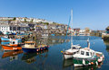 Mevagissey cornwall england colourful boats in the harbour on a beautiful blue sky summer day Royalty Free Stock Images
