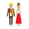 Mexica national dress illustration of costume on white background Royalty Free Stock Image