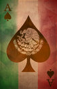 Mexican ace of spades grunge poster background flag easy edit Stock Images