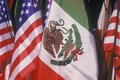 Mexican and american flags may th olvera street los angeles california Stock Photos
