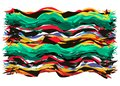 Abstract Mexican carpet concept. Ethnic fabric texture with colorful stripes. Mexican Blanket Stripes wavy shape Vector isolated Royalty Free Stock Photo