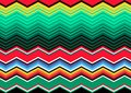 Mexican Blanket Stripes multi color Vector zig zag Pattern. Typical colorful woven fabric from central america Royalty Free Stock Photo