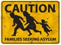 Mexican Border Family Running Asylum Sign Caution Royalty Free Stock Photo