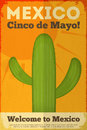 Mexican cactus posters in retro style cinco de mayo illustration Stock Images