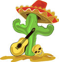 Mexican cactus with sombrero skull and guitar Stock Photography