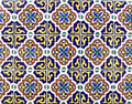 Mexican ceramic tile in dark blue and yellow can be tiled Stock Photo
