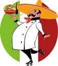 Mexican chef vector cartoon of a in uniform and sombrero on roller skates delivering a tray with food Royalty Free Stock Images