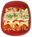 Mexican chicken enchiladas food baked with spicy tomato sauce and cheese Royalty Free Stock Photo