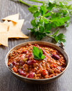 Mexican chili con carne traditional appetizer beans Stock Photos