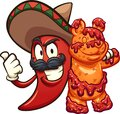 Mexican chili pepper holding a gummy bear Royalty Free Stock Photo