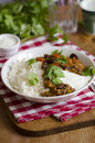 Mexican chilli spicy with rice and cream Royalty Free Stock Photo