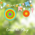 Mexican Cinco de Mayo greeting card, invitation. Party decoration, string of light bulbs, paper flags and colorful