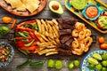 Mexican combo beef chicken fajitas shrimp Royalty Free Stock Photo