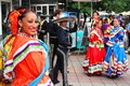 Mexican dancers woman smile and dressed in traditional costume at international folklore festival hercules from baile herculane Royalty Free Stock Image