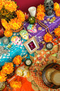 Mexican day of the dead altar dia de muertos traditional with catrina sugar skulls cempasuchil flowers and candles Stock Photos