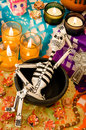 Mexican day of the dead altar dia de muertos traditional with skeleton sugar skulls and candles Stock Image
