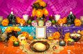 Mexican day of the dead altar dia de muertos traditional with sugar skulls Stock Photography