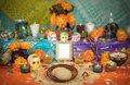 Mexican day of the dead altar dia de muertos traditional with sugar skulls and candles Stock Photos