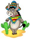 Mexican donkey with cactuses Stock Photography