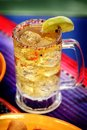 Mexican drink a glass full of beer with lemon Royalty Free Stock Images
