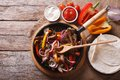 Mexican fajitas on a table. horizontal top view Royalty Free Stock Photo