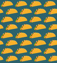 Mexican fast food seamless pattern with taco on aquamarine background