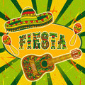 Mexican Fiesta Party Invitation with maracas, sombrero and guitar. Hand drawn vector illustration poster Royalty Free Stock Photo