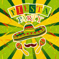 Mexican Fiesta Party Invitation with maracas, sombrero and mustache. Hand drawn vector illustration poster Royalty Free Stock Photo
