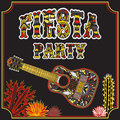 Mexican Fiesta Party Invitation with Mexican guitar, cactuses and colorful ethnic tribal ornate title. Hand drawn vector illustrat Royalty Free Stock Photo